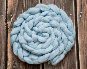 Blue Wool Braid, Newborn Prop Braid,Wool Basket Stuffer,Photo Prop Wool Braid,Wool Plait,Newborn Photography,Soft Wool Prop,Photo Prop Braid