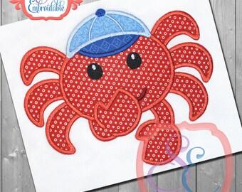 SHY CRAB BOY Applique Design For Machine Embroidery