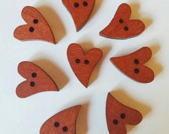 Copper Wooden Heart Buttons x 8