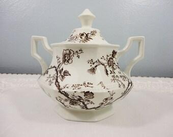 Johnson Bros Brown Transferware Sugar Bowl with Lid