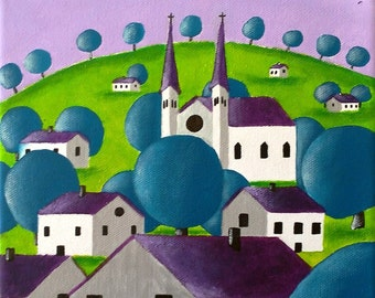 Landscape naive painting - landscape with trees, village and blue - hand painted Sabrina RIGGIO