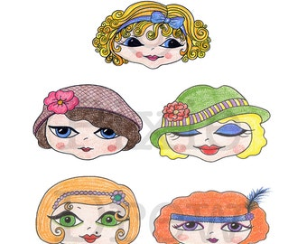 Clip art faces, ladies heads, dolls head pencil crayon illustrations for card making or scrapbooking