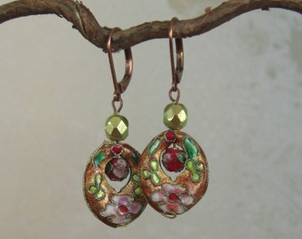 vintage style drop earrings brown/ gold