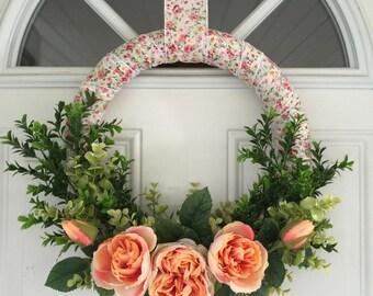 Peach Rose and Boxwood Wreath - Medium