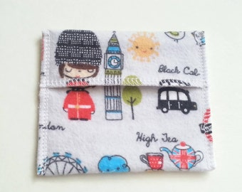 Pad Wrapper Pouch for Cloth Pads Mini Wet Bag - London