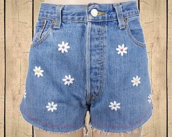 Levis 501 High Waisted Denim Shorts Cut Offs Customized Daisies Flowers Stonewash Blue W34