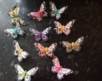 Feather Butterfly Hair Clips