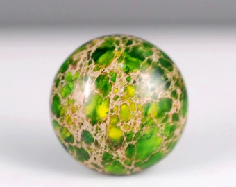 4 Pieces Imperial Jasper 15mm Round Yellow Green Cabochon Cab (90183064-C1)