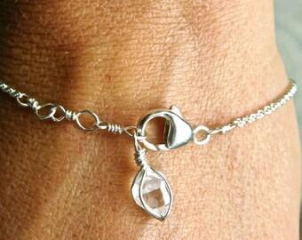 "Herkimer Diamond Bracelet - Herkimer Diamond Bracelet - Herkimer diamond - 7.5 "" adjustable bracelet"