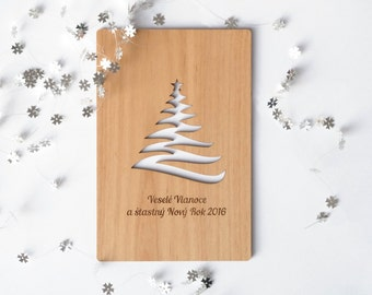 Wooden Christmas Greeting Card, Special Christmas Greeting Card, Merry Christmas Card, Laser cutted, Wooden Greeting Card, A Christmas tree