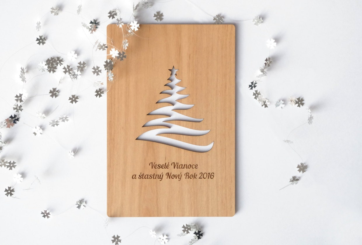 Wooden christmas greeting card special