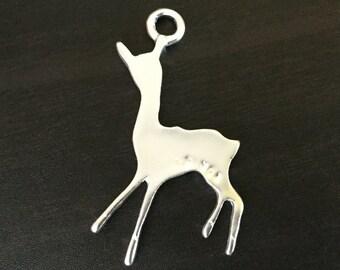 Deer Charm | Matt Silver Plated Brass Charms | Jewelry Making Supplies | Handmade Pendant Bracelet | Earrings Keychain (18*35mm) 1pc CHB17