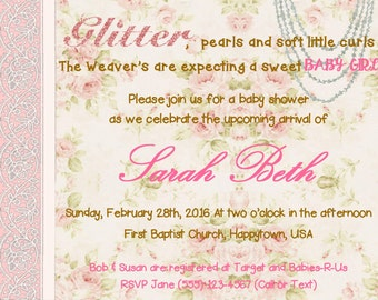 Custom Shabby Chic Baby Shower Invitation