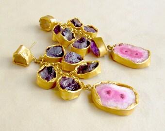 Statement Cluster Earrings with Raw Amethyst and Pink Agate/Gold Earrings/Dangle Earrings/Raw Gemstone Earrings