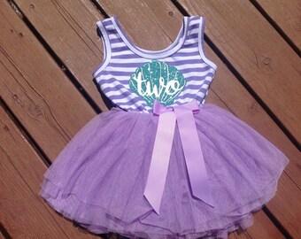 Purple Second Birthday Mermaid Dress
