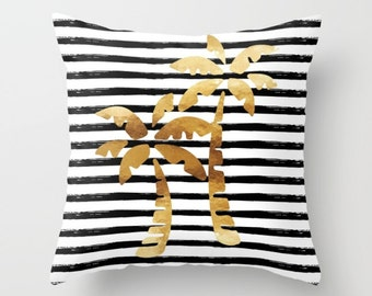 Throw Pillow - Palm Trees and Stripes - Gold Black White - Square Cover 16x16 18x18 20x20 24x24 - Insert Optional