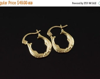 1 Day Sale 14K Hollow Dolphin Earrings Yellow Gold