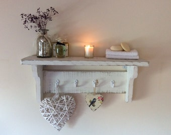 Hand made rustic distressed shabby chic shelf