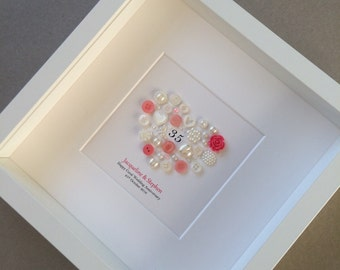 Coral Wedding, 35th Anniversary, Coral Anniversary, 35th Wedding, Button Art, Traditional Anniversary Gift, 35 Years, Personalised, Framed