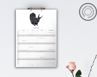 Family Calendar 'WILD ANIMALS', black // A3