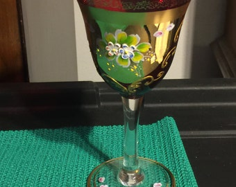 Mid Century Murano Venetian Wine Glass with hand painted raised flowers and 24K gold