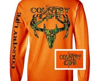Country Life Camo Skull Orange Long sleeve Tee shirt NEW