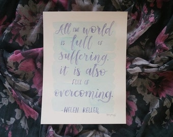 Watercolor Original Art 9 x 12 Helen Keller Quote with Teal india ink and lavender purple modern calligraphy lettering