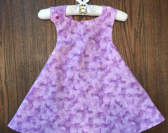 Lavender, Purple, and White Butterfly and Flower Reversible Handmade Sundress for Infants and Toddlers