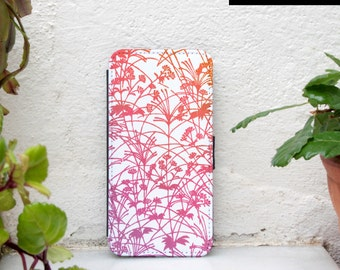 iPhone7 wallet case floral - available for iPhone7 plus, iPhone 6, iPhone 6 plus - botanical iphone wallet case - white - pink - summer
