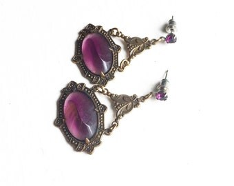 Victorian Inspired Brass and Faux Amethyst Chandalier Earrings