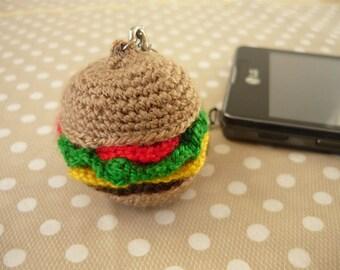 Amigurumi phone charm - little hamburger, gift for teens, cute keychain, kawaii charm, cute phone dangle, Dust Plug, Earphone Plug