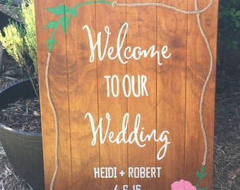 Welcome To Our Wedding - Custom made sign, Wedding signs, Custom wedding sign,Personalized sign Hand painted sign, customizable wedding sign
