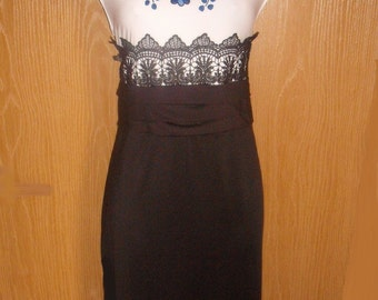 Hungarian hand embroidered Black and white milk silk Dress size L