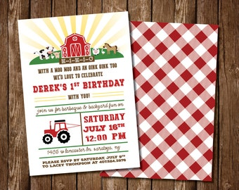 Farm/Barnyard Theme Birthday Party Invitation