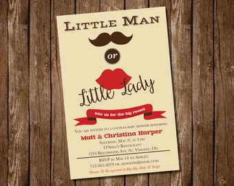 Little Man or Little Lady Gender Reveal Party Invitation