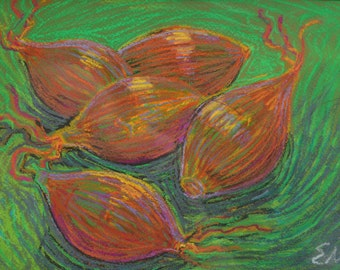 original painting / oil pastel / brown onions / food motif / kitchen decor /dining room decor / trendy painting