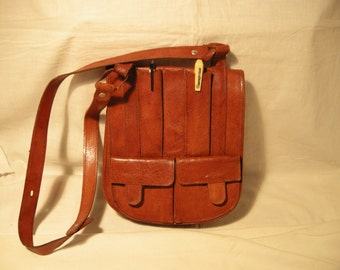 Vintage 1980's Light Brown Leather Handbag - Shoulder Bag