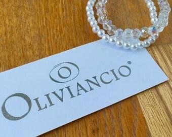 2 OLIVIANCIO handmade & hand beaded bracelets. 1 Rondelle crystal bracelet and 1 pearl bracelet