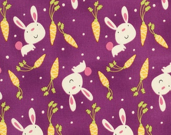 Garden Bunny  David Walker Free Spirit Cotton Quilt  Fabrics  Purple   Bfab