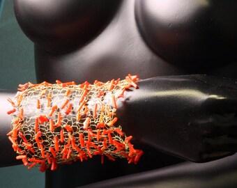 Coral bracelet,wire knitting,handmade,flexıble
