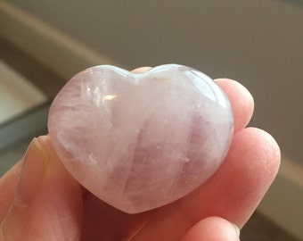 Hand Shaped and Polished Madagascar Rose Quartz Heart