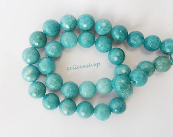 AGATE FACETED clear Turquoise (faceted) 12mm 6 pc