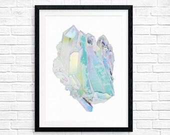 Rainbow aura quartz mineral printable art
