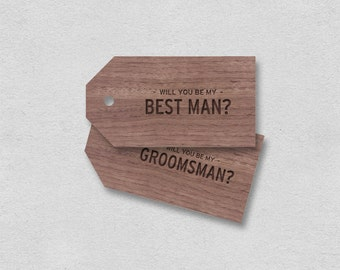 Best man card Groomsman card printable | gift tag will you be my best man | Manly minimal wood brown plain cool typography wooden label gift