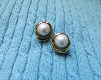 Faux Pearl Gold Stud Earrings