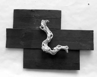Sculpture wood float, wood carving driftwood, burnt wood, burnt wood