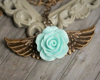 Angel Wing Necklace, Flower Necklace, Wing Necklace, Steampunk Inspired, Girly Steampunk, Flower Necklace, Flower Pendant, Gift For Her