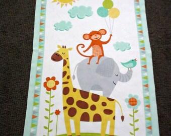Jungle animal fabric panel. Baby nursery cot panel. Juvenile fabric. Zoo animal. Safari quilt panel. Giraffe Monkey Elephant Balloon Flannel