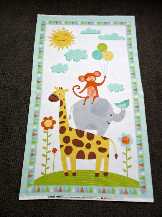 Jungle animal fabric panel baby nursery cot panel juvenile for Nursery monkey fabric