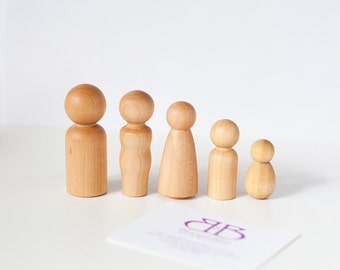 Wood Peg Doll Family / Wood Toy Dolls / Wood Family / Wood Dolls / Family of 5
